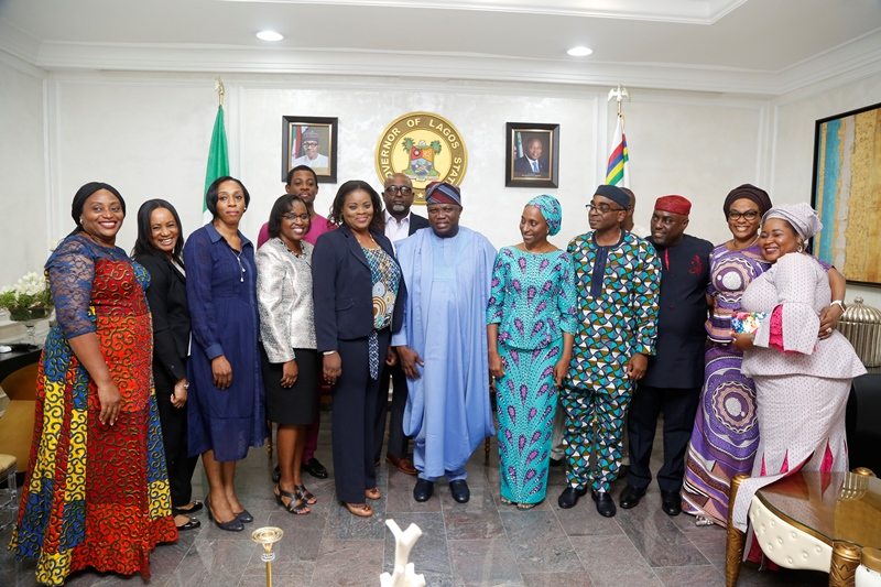 Lagos State Governor, Mr. Akinwunmi Ambode (middle), with wife of the Vice President, Mrs. Dolapo Osinbajo (5th right); Mr. Segun Awolowo (4th right) and other members of the Awolowo family during their courtesy visit to the Governor at the Lagos House, Ikeja, on Tuesday, September 26, 2017.