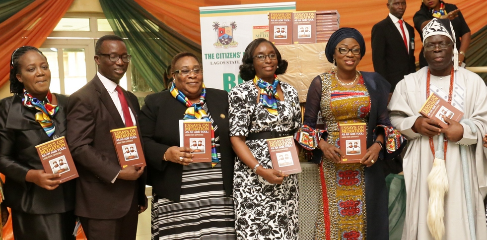 Wife of Lagos State Governor, Mrs. Bolanle Ambode (2nd right); representative of the Governor and Solicitor General/Permanent Secretary, Lagos State Ministry of Justice, Mrs. Funlola Odunlami (3rd right); Chairman of the occasion, Rtd. Justice Ayotunde Philips (3rd left); Officer, United Nation Information Centre, Lagos, Mr. Oluseyi Soremekun (2nd left); Director, Citizens' Mediation Centre, Mrs. Oluwatoyin Odusanya (left) and Aladeshoyin of Noforija, Oba Babatunde Ogunlaja (right) during the 2017 United Nations International Day of Peace and 18th Stakeholders' Conference/Book Launch at Adeyemi Bero Auditorium, Alausa, Ikeja, on Thursday, 21 September, 2017.