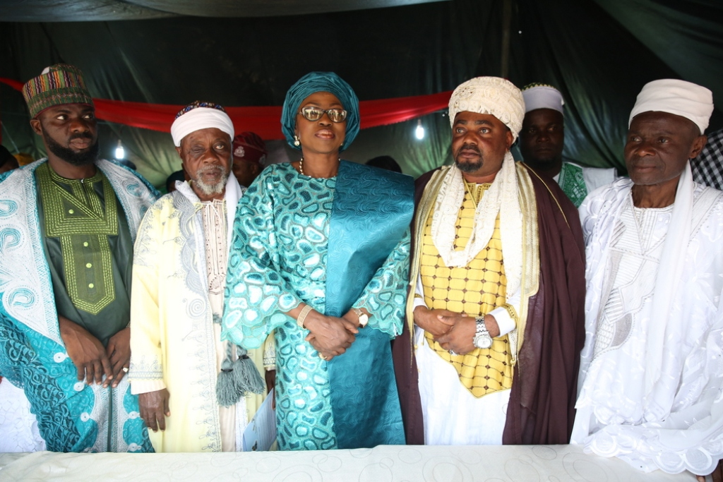 "Wife of Lagos State Governor, Mrs. Bolanle Ambode (middle); flanked by Chief Imam of Epe Central Mosque, Imam AbdulRahman Sadala Abiola and members of Epe League of Imam, during the Eid-El-Kabir celebration, tagged ""Odun Ileya Get-Together"", at one of the designated centres, Marina Waterfront, Epe, Lagos, on Saturday,  September 2, 2017."