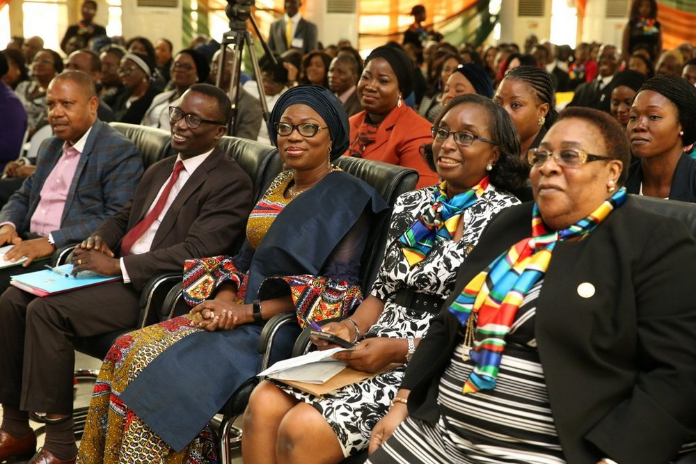 Wife of Lagos State Governor, Mrs. Bolanle Ambode (middle); representative of the Governor and Solicitor General/Permanent Secretary, Lagos State Ministry of Justice, Mrs. Funlola Odunlami (2nd right); Chairman of the occasion, Rtd. Justice Ayotunde Philips (right); Officer, United Nation Information Centre, Lagos, Mr. Oluseyi Soremekun (2nd left) and Rev. Father John Gbebe (left) during the 2017 United Nations International Day of Peace and 18th Stakeholders' Conference/Book Launch at Adeyemi Bero Auditorium, Alausa, Ikeja, on Thursday, 21 September, 2017.