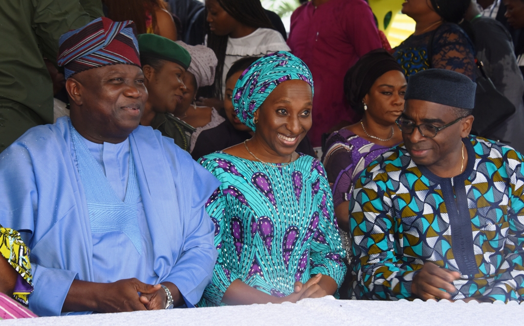 Lagos State Governor, Mr. Akinwunmi Ambode, with wife of the Vice President, Mrs. Dolapo Osinbajo and Mr. Segun Awolowo during the unveiling of the new Obafemi Awolowo Statue at Lateef Jakande Road, Ikeja, on Tuesday, September 26, 2017.