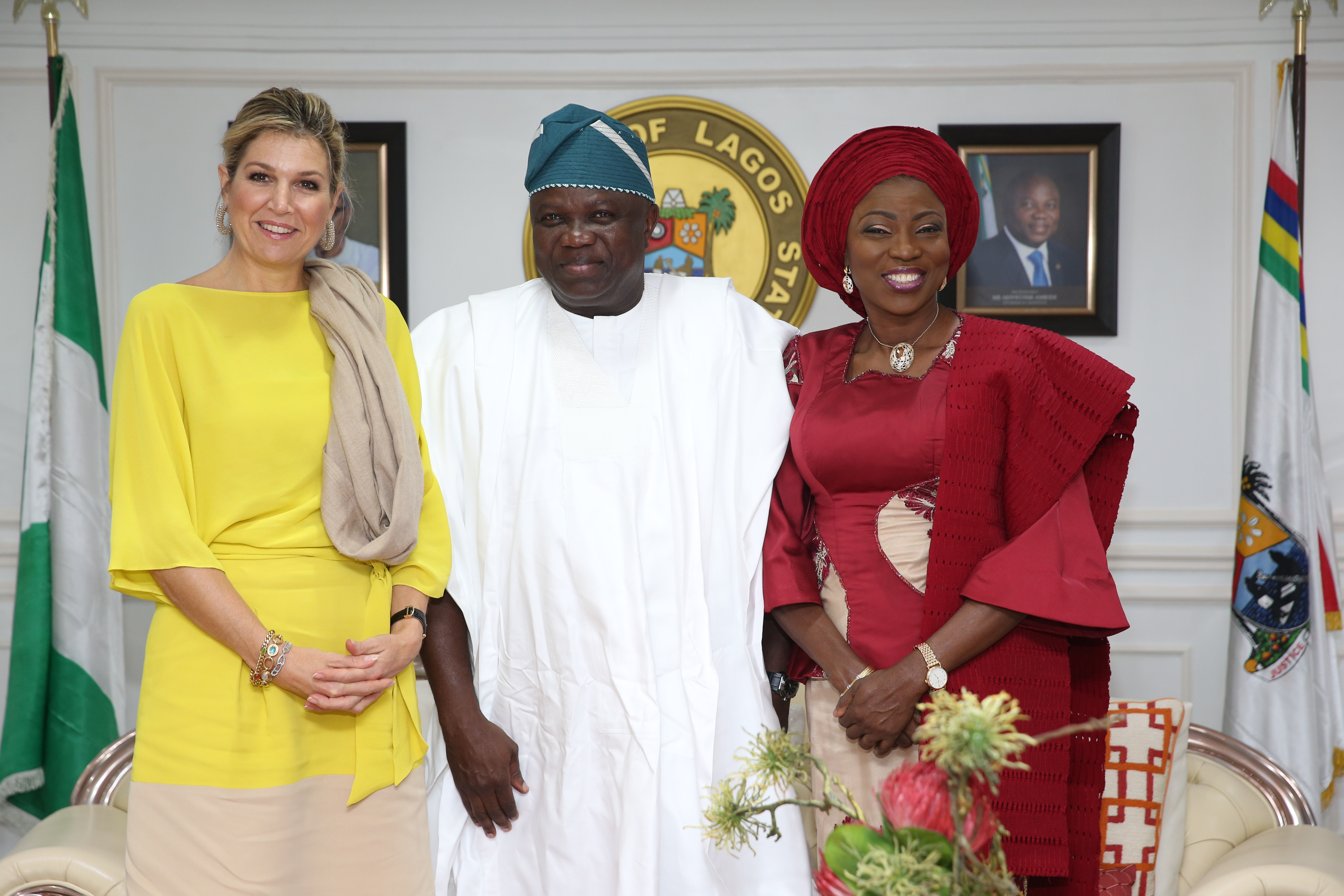 Lagos State Governor, Mr. Akinwunmi Ambode (middle); his wife, Bolanle (right) and Queen Maxima Zorreguieta Cerruti of the Netherlands (left) during the Queen's courtesy visit at the Lagos House, Ikeja, on Tuesday, October 31, 2017.