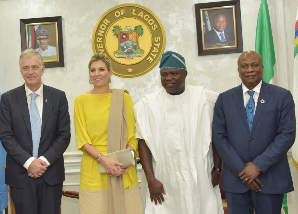 Lagos State Governor, Mr. Akinwunmi Ambode (2nd right); Queen Maxima Zorreguieta Cerruti of the Netherlands (2nd left); Ambassador of the Netherlands to Nigeria, Mr. Robert Petri (left) and  United Nations Development Programme Resident Representative, Mr. Edward Kallon (right) during the Queen's courtesy visit to the Governor at the Lagos House, Ikeja, on Tuesday, October 31, 2017.