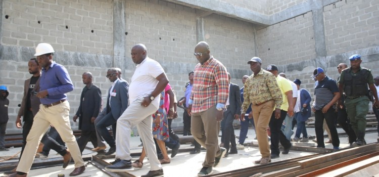 Pictures: Governor Ambode Inspects  Cinema/Theatre Under Construction in Badagry