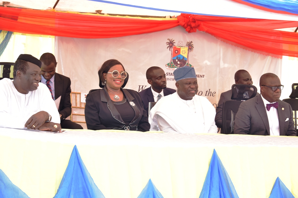 Lagos State Governor, Mr. Akinwunmi Ambode (2nd right); Attorney General & Commissioner for Justice, Mr. Adeniji Kazeem (right); Chief Judge of the State, Hon. Justice Opeyemi Oke (2nd left) and member, House of Representatives, Badagry Federal Constituency, Hon. Joseph Bamgbose (left) during the commissioning of the Olusola Thomas Courthouse in Badagry, on Thursday, November 9, 2017.