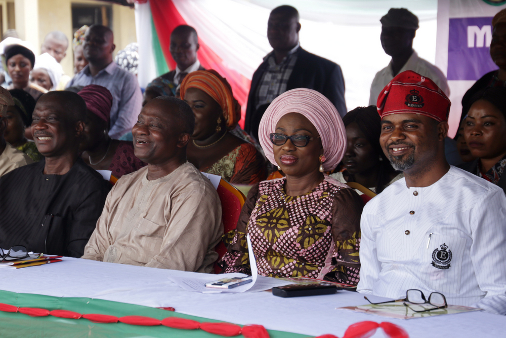 Wife of Lagos State Governor, Mrs. Bolanle Ambode (2nd right); Chairman, House Committee on Health, Hon. Olusegun Olulade (right); Commissioner for Health, Dr. Jide Idris (2nd left) and member, House of Representatives, Epe Federal Constituency, Hon. Olawale Raji (left) during the Town Hall Meeting on Maternal and Child Mortality Reduction program, in Epe Local Government, on Monday, 20th November 2017.
