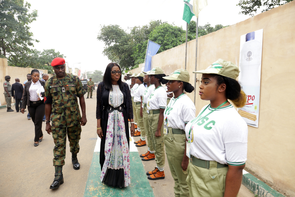 Wife of the Governor of Lagos State, Mrs Bolanle Ambode,  inspecting a Guard-of-honour, during the talk on Drug Abuse to Youths and its Economic and Social Implications on our Society for the 2017 Batch B Stream 1 Corps Members, deployed to Lagos State, at the NYSC Orientation Camp, Iyana-Ipaja, Lagos.