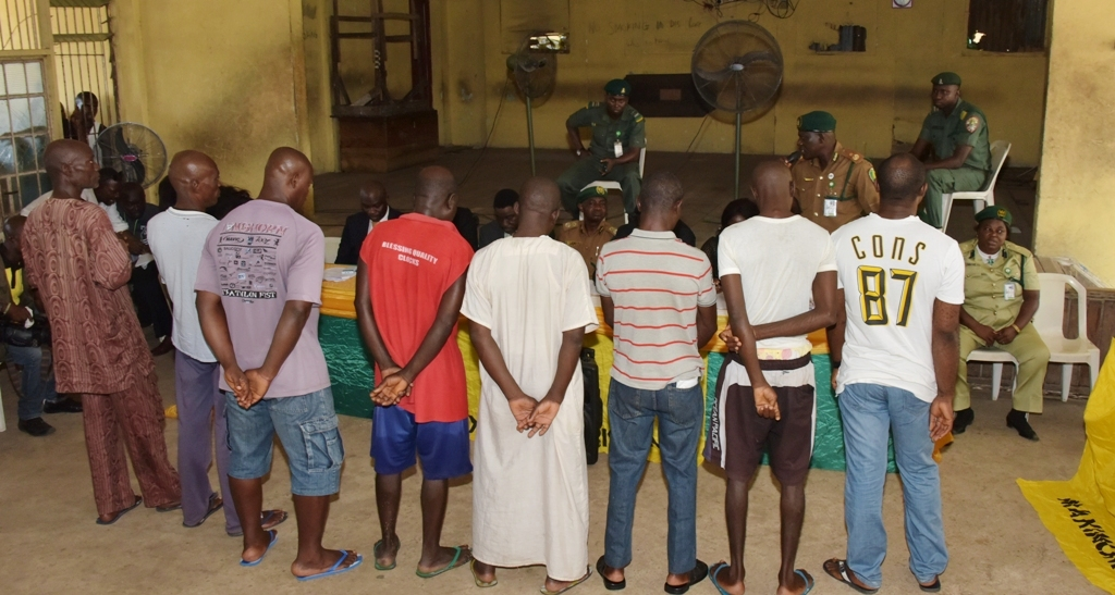 The 12 inmates released at the Maximum Security Prison, Kirikiri by Governor Akinwunmi Ambode, on Tuesday, December 19, 2017