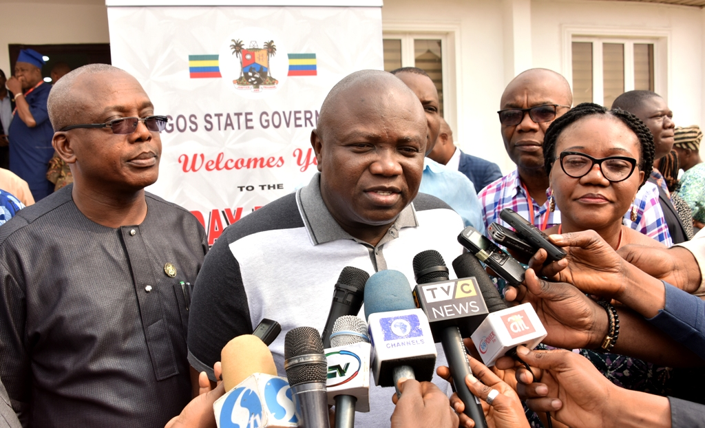 Lagos State Governor, Mr. Akinwunmi Ambode (middle), fielding questions from journalists shortly after the opening session of a 3-Day retreat for Executive Council members and Body of Permanent Secretaries with the theme - Effective Strategic Planning for an Emerging Smart City, at the Jubilee Chalet, Epe, on Thursday, January 25, 2018. With him are Head of Service, Mrs. Folasade Adesoye (right) and Commissioner for Establishment & Training, Dr. Akintola Benson (left).