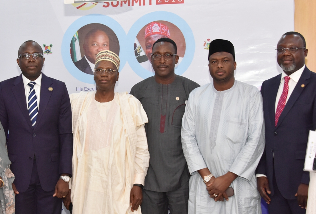 Lagos State Commissioner for Finance/Co-Chairman, Lagos-Kano Economic Summit 2018, Mr. Akinyemi Ashade; Co-Chairman/Chairman, Kano Economic Summit, Dr. Shamsudeen Usman; Commissioner for Transportation, Lagos State, Mr. Ladi Lawanson; Kano State Commissioner for Finance and Economic Development, Alhaji Aminu Mukhtar and Special Adviser to the Lagos State Governor on Lagos Global, Prof. Ademola Abass during a joint media briefing on the forth coming Lagos-Kano Economic Summit 2018 at the Bagauda Kaltho Press Centre, the Secretariat, Alausa, Ikeja, on Tuesday, February 13, 2018