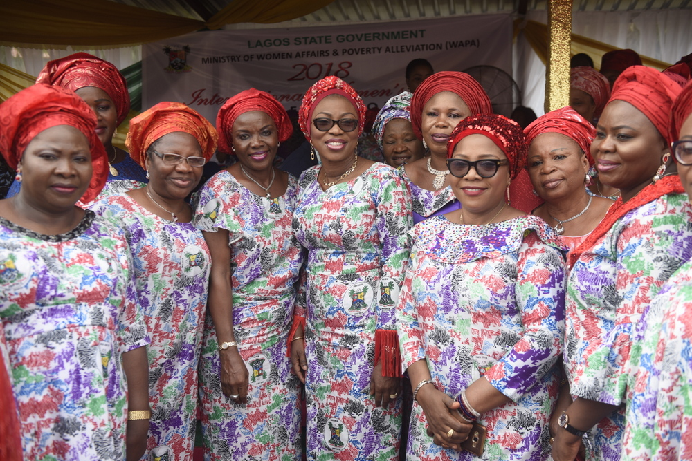"Wife of the Governor of Lagos State, Mrs. Bolanle Ambode (3rd left) and members of the Committee of Wives of Lagos State Officials (COWLSO), during the 2018 International Women's Day celebration, with the theme; ""Press for Progress'', organized by Ministry of Women Affairs & Poverty Alleviation, at the Police College, Ikeja, on Thursday, 8th March, 2018."