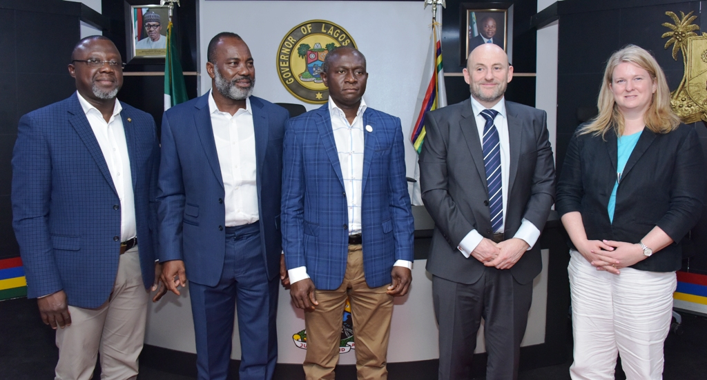 Special Adviser to Governor Ambode on Lagos Global, Prof. Ademola Abass; Chairman, Low Energy Designs Company Limited, Otunba Teni Zacchaeus; Commissioner for Energy & Mineral Resources Mr. Olawale Oluwo; CEO, Low Energy Designs Company Limited, Mr. Alan Parker and Head of Trade, West Africa, Department of International Trade UK, Kate Rudd shortly after the signing of the Memorandum of Understanding (MoU) on 10,000 Street Lighting project with Low Energy Designs Company Limited at the Lagos House, Alausa, Ikeja, on Monday, March 5, 2018.