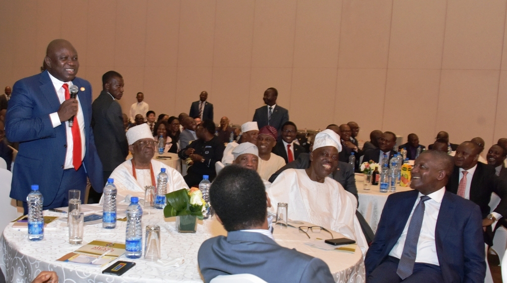 """Lagos State Governor, Mr. Akinwunmi Ambode, with Founder, First City Monument Bank Group, Otunba Subomi Balogun; Chairman, Premier Lotto Limited, Chief Kessington Adebutu; Chairman, Eleganza Group of Companies, Alhaji Rasak Okoya (2nd right) and President, Dangote Group, Alhaji Aliko Dangote during the """"Lagos Means Busine ss"""" (a parley with the Governor), at the Eko Hotel and Suites, Victoria Island, on Tuesday, March 6, 2017."""
