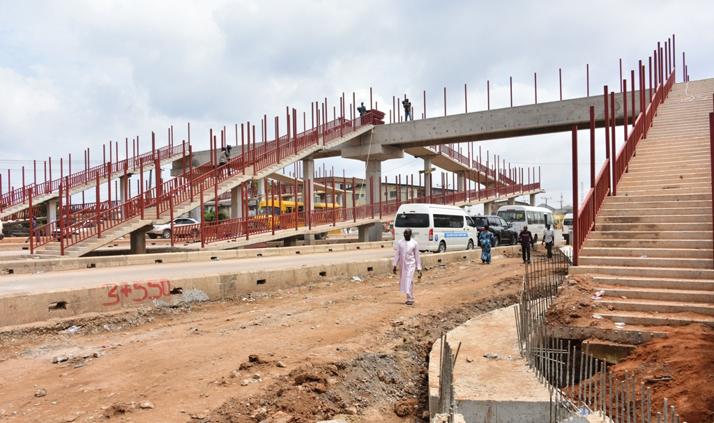 The ongoing construction of the Oshodi-Abule Egba BRT corridor being built by the Lagos State Government, during the inspection at the weekend
