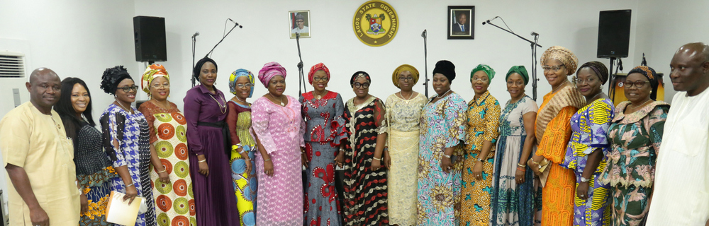 "Wife of the governor of Lagos State, Mrs. Bolanle Ambode (8th left) and members body of Permanent Secretaries, during the song ministration programme tagged, ""Hymnal Hour"", at the Lagos House, Ikeja, on Saturday, 1st September, 2018"