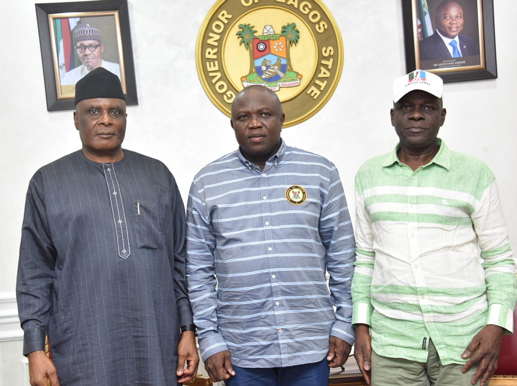 Lagos State Governor, Mr. Akinwunmi Ambode, flanked the Chairman, APC National Working Committee (NWC) Panel for the Primary Election in Lagos, Mr. Clement Ebri (left) and APC Lagos Chairman, Alhaji Tunde Balogun (right) during a visit to the Governor by the NWC Panel ahead of the Party's primary election, at Lagos House, Alausa, Ikeja, on Monday, October 1, 2018.