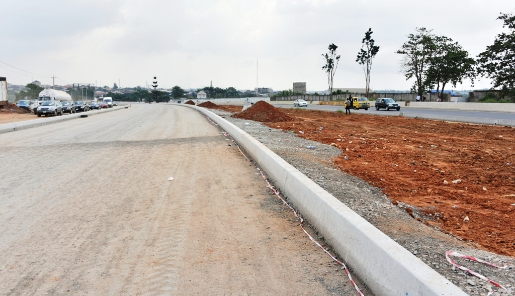 Ongoing construction work on the Oshodi-International Airport road, being built by the Lagos State Government