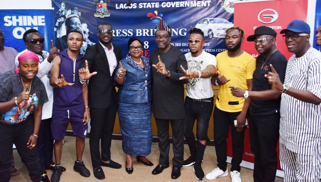 Lagos State Commissioner for Tourism, Arts & Culture, Mr. Steve Ayorinde (5th right); Special Adviser to the Governor on Arts & Culture, Mrs. Aramide Giwanson (5th left), with some of the Artistes billed for the One Lagos Fiesta, Teni; Saheed Osupa; Humblesmith; Mr. P; Mr. Real; Slimcase; Blackky and Adewale Ayuba  during a press conference on the 2018 One Lagos Fiesta at Bagauda Kaltho Press Centre, the Secretariat, Alausa, Ikeja, on Monday, December 3, 2018.