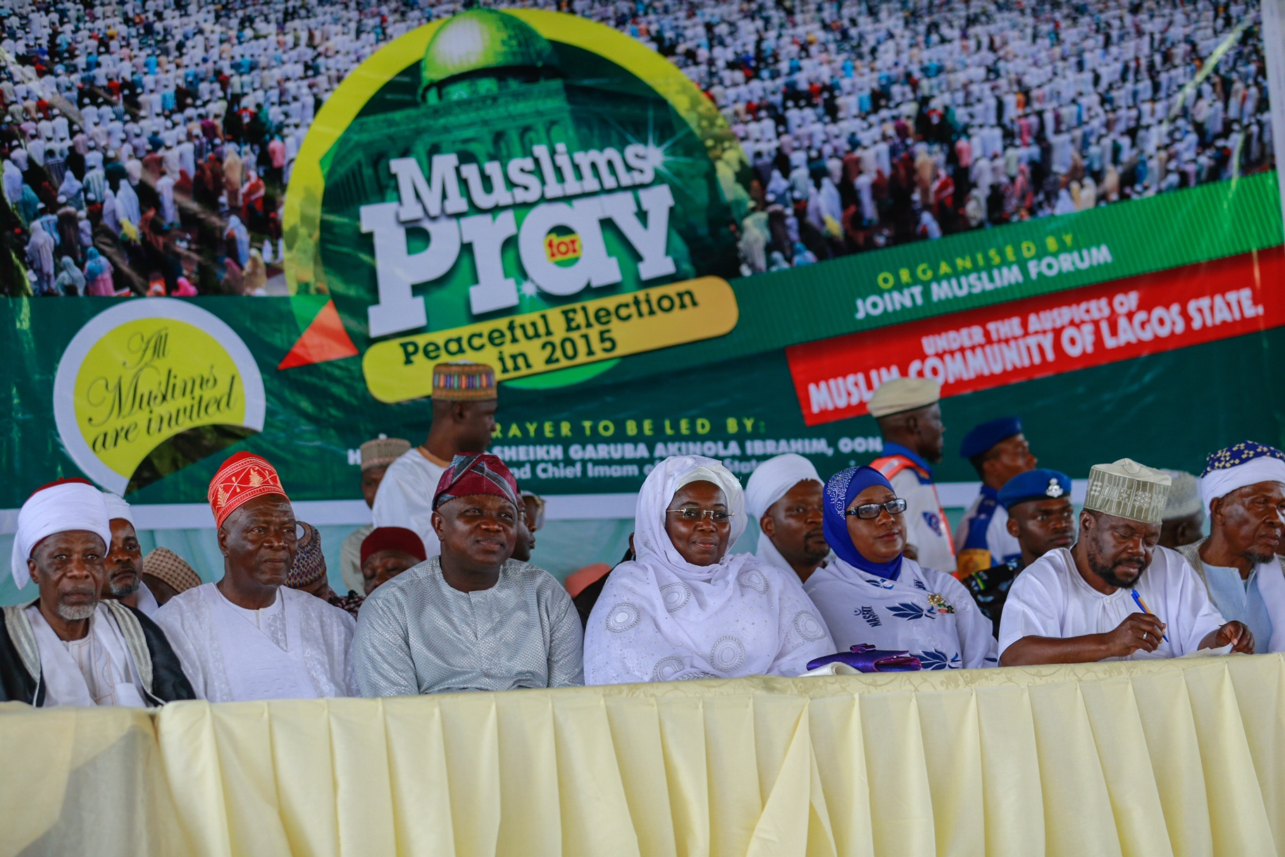 "Akinwunmi Ambode participates in ""Muslims Pray for Peaceful Election in 2015"""