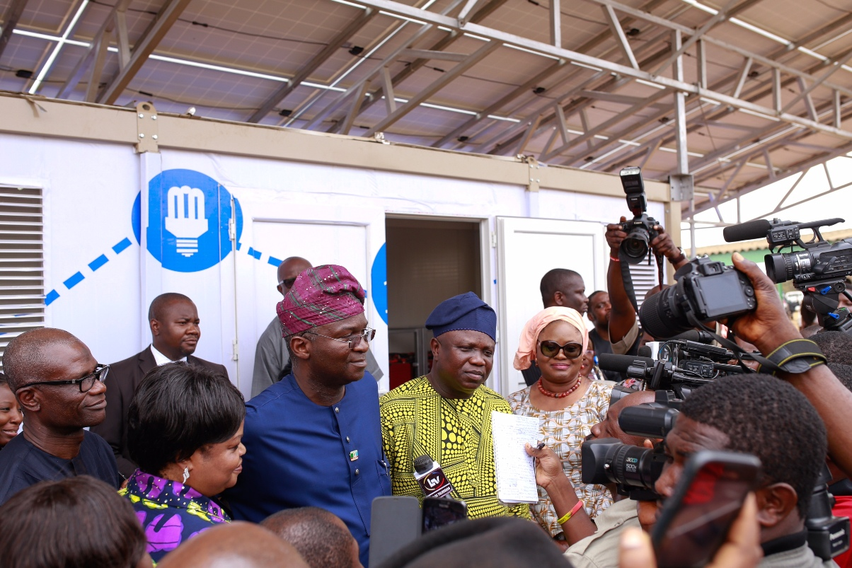 Akinwunmi Ambode at the commissioning of Solar Powered Panels in Model School Meiran