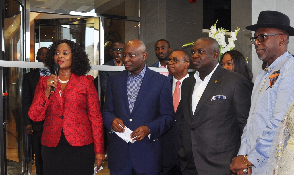 Lagos State Governor, Mr. Akinwunmi Ambode (2nd right) with the Chairman, The George, Mr. Tien George (2nd left), Managing Partner, Mrs. Chizor Malize (left), Executive Secretary, Nigerian Content Development & Monitoring Board, Mr. Denzil Amagbe Kentebe (right) during the commissioning of The George Hotel, Ikoyi on Friday, July 10, 2015.