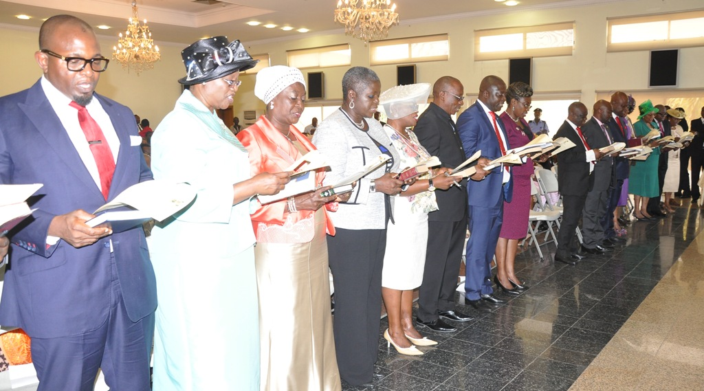 A cross section of the newly appointed 19 Permanent Secretaries taking their Oath of Office before the Director, Legislative Drafting, Ministry of Justice, Mrs. Tola Akinsanya (left) presided by Governor Ambode at the Banquet Hall, Lagos House, Ikeja, on Wednesday, August 05, 2015.