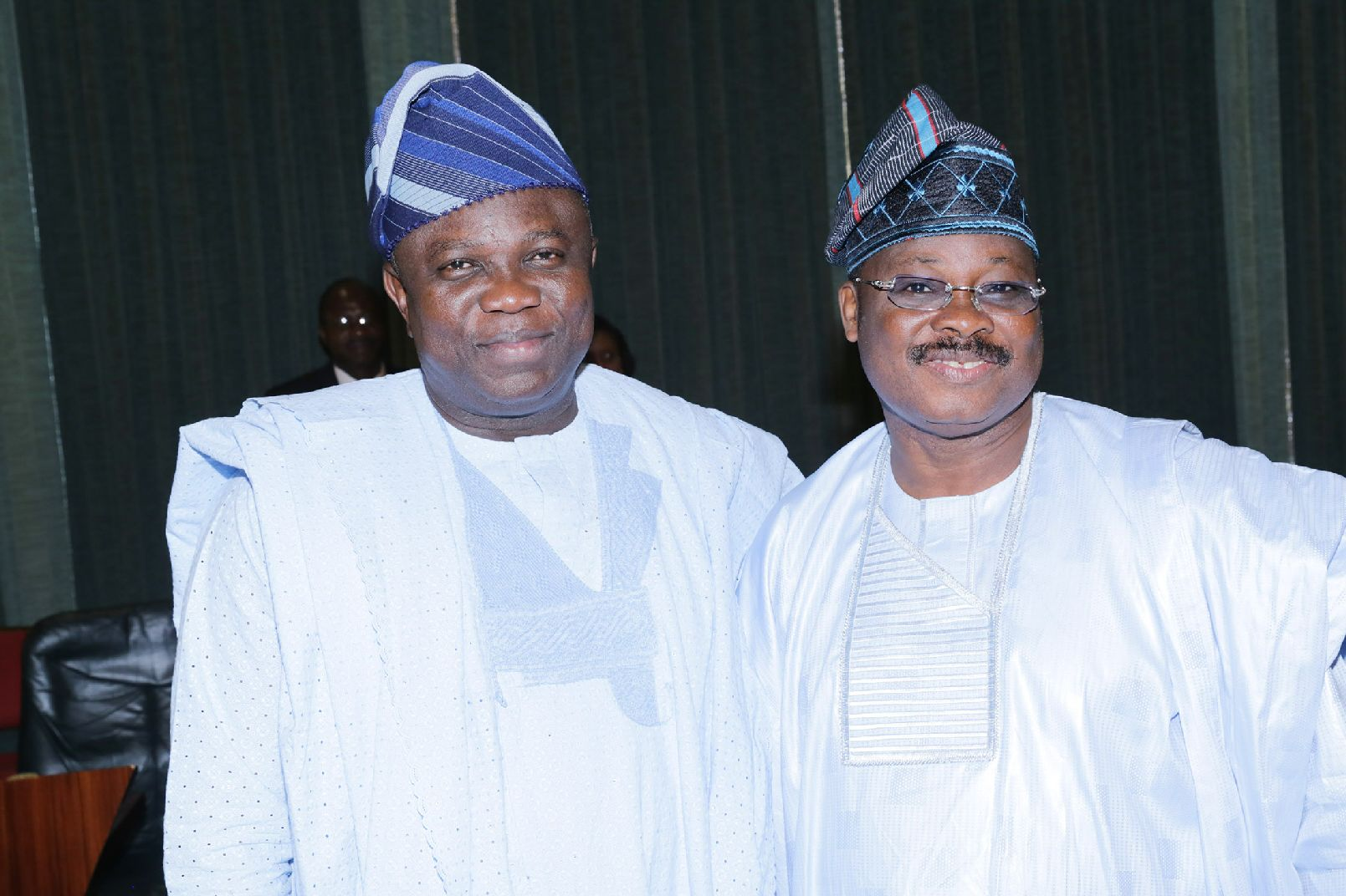 Lagos State Governor, Mr. Akinwunmi Ambode with Governor of Oyo State, Mr. Abiola Ajimobi during the NEC meeting at the State House, Abuja on Thursday, September 17, 2015.