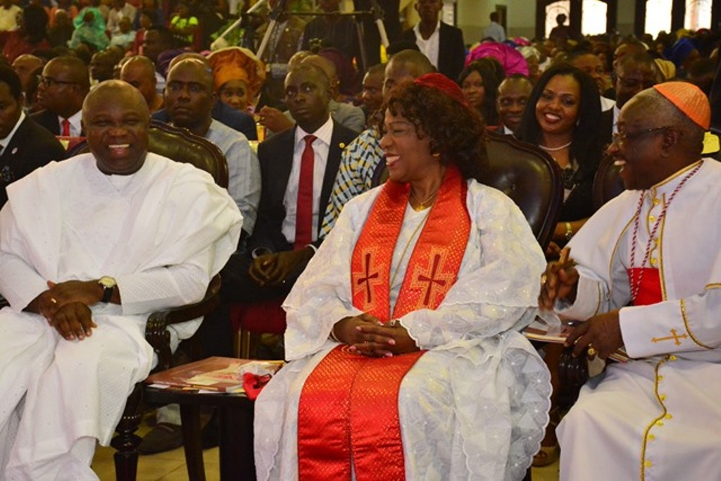 Lagos State Governor, Mr. Akinwunmi Ambode (left) with Bishop Magaret Idahosa (middle) and former Prelate, Methodist Church of Nigeria, His Eminence Sunday Olamakinde (right) during the 70th Birthday Special Thanksgiving Service of Bishop Mike Okonkwo at the TREM Headquaters, Gbagada on Sunday, September 06, 2015.