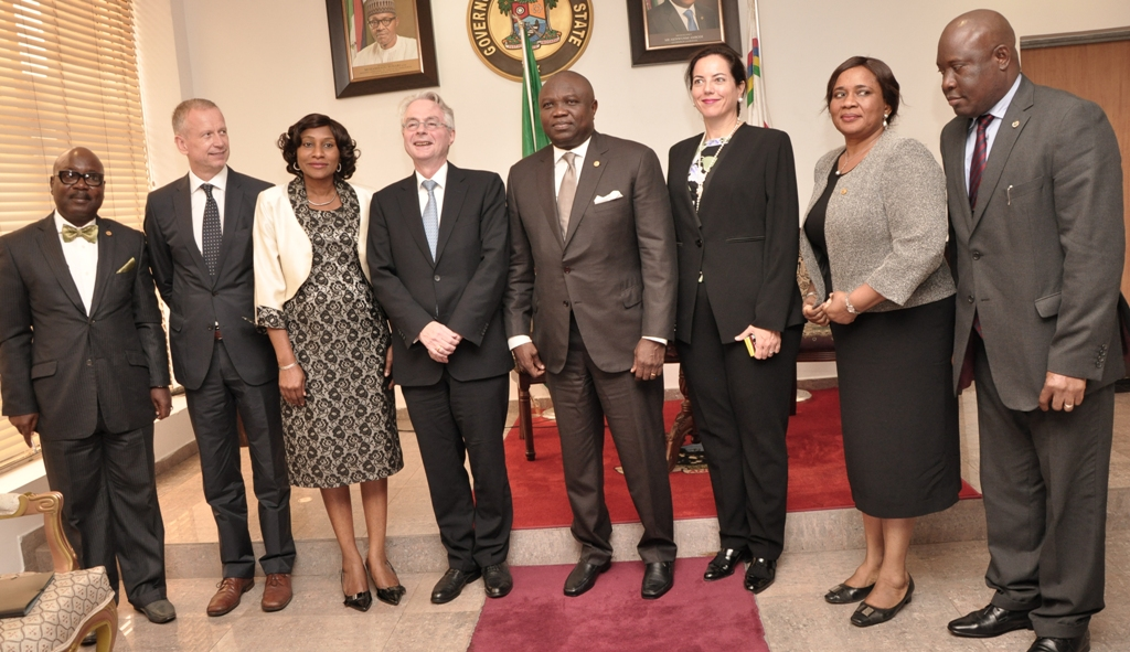 Lagos State Governor, Mr. Akinwunmi Ambode (4th right) in a group photograph with the Ambassador of the Republic of Germany to Nigeria, Mr. Michael Zenner (4th left), Consul General of the Federal Republic of Germany, Lagos, Mr. Ingo Herbert (2nd left), the Permanent Secretary, Office of Overseas Affairs & Investment, Mrs. Arinola Olufunmilayo Odulana (3rd right), Acting Permanent Secretary, Ministry of Energy & Mineral Resources, Mr. Adeyemi Fashola (left), the Group Management Committee, Knauf Region Southern Europe, Middle East, Africa, Mrs. Isabel Knauf (3rd right), the Permanent Secretary, Ministry of Wealth Creation & Employment, Dr. (Mrs.) Nike Oduwole (2nd right) and her counterpart from Ministry of Transportation, Mr. Oluseyi Whenu (right)  during the Ambassador's courtesy visit to the Governor, at the Lagos House, Ikeja, on Monday, September 14, 2015.