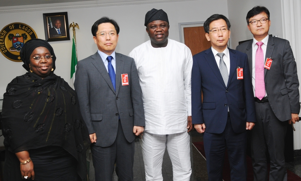 Lagos State Governor, Mr. Akinwunmi Ambode (middle), his Deputy, Dr. (Mrs.) Idiat Oluranti Adebule (left), the Ambassador of the Republic of Korea, Mr. Noh Kyu-Duk (2nd left), the Consul General, Embassy of the Republic of Korea in Lagos, Mr. Younghoan Lee (2nd right) and the Counselor/Economy,  Embassy of the Republic of Korea, Mr. Dae-Sup Lee (right) during the Ambassador's courtesy visit to the Governor in his Office at the Lagos House, Ikeja, on Friday, September 11, 2015.