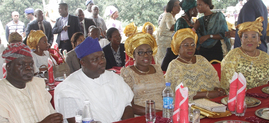 Lagos State Governor, Mr. Akinwunmi Ambode (2nd left), Chief of Staff, Mr. Olukunle Ojo, First Lady of Lagos State, Mrs. Bolanle Ambode, Mrs. Aderonke Ojo and All Progressives Congress National Women Leader, South West, Chief (Mrs.) Kemi Nelson during the Eid-el-Kabir Celebration organized by the Ministry of Home Affairs at the Lagos House, Ikeja, on Thursday, September 24, 2015.