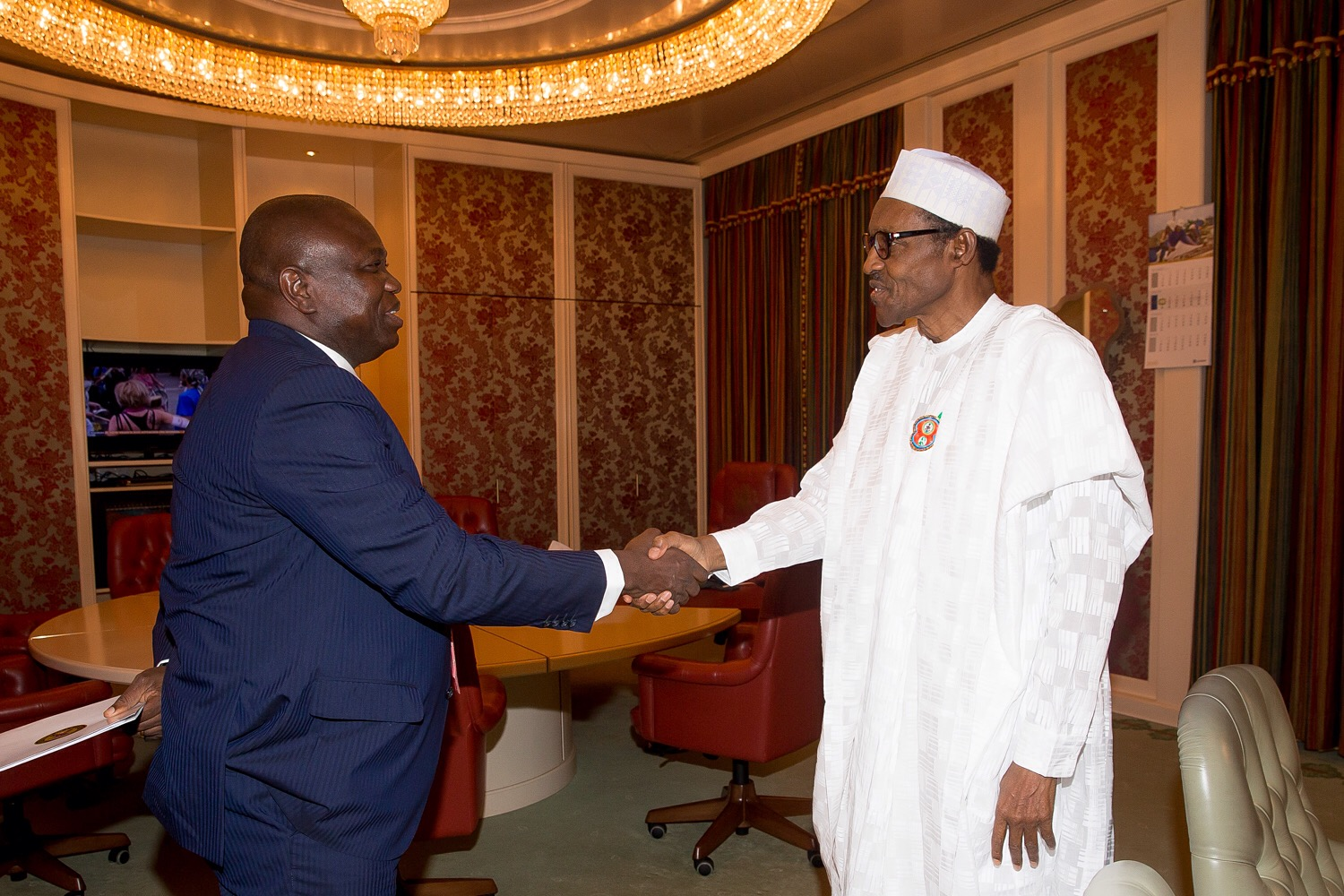 Lagos State Governor, Mr. Akinwunmi Ambode, at a meeting with President Muhammadu Buhari at the Aso Rock Villa in Abuja on Monday, January 11, 2016.