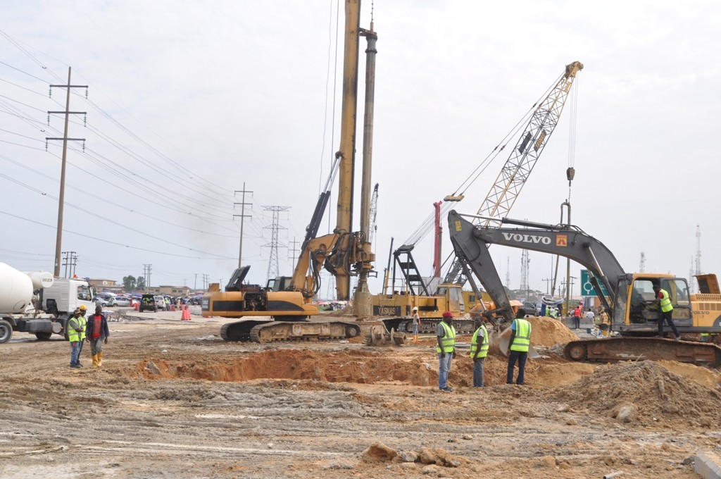 On-going construction work of Fly Over at Ajah, Lekki-Epe Expressway by the Lagos State Government, on Friday, June 17, 2016.