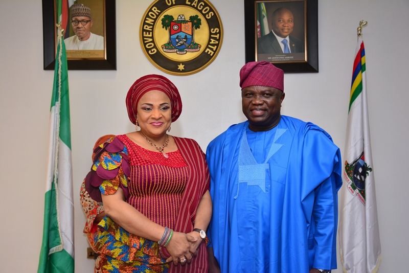 With Governor Akinwunmi Ambode in this picture is the Wife of Oyo State Governor, Her Excellency, Mrs. Florence Ajimobi during the courtesy visit by members of the Southern Governors' Wives' Forum, this morning at the Lagos House, Alausa, Ikeja.