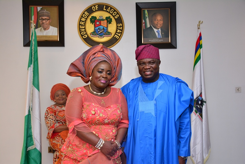 With Governor Akinwunmi Ambode in this picture is the Wife of Bayelsa State Governor, Her Excellency, Rachel Dickson during the courtesy visit by members of the Southern Governors' Wives' Forum, this morning at the Lagos House, Alausa, Ikeja.