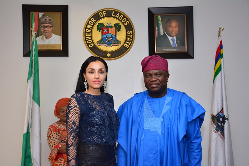 With Governor Akinwunmi Ambode in this picture is the Wife of Edo State Governor, Her Excellency, Mrs. Iara Oshiomhole during the courtesy visit by members of the Southern Governors' Wives' Forum, this morning at the Lagos House, Alausa, Ikeja.