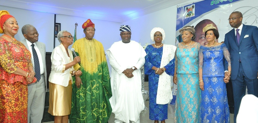 L-R: Lagos State Governor, Mr. Akinwunmi Ambode (middle), with his Wife, Bolanle (4th right); members of Committee Encouraging Corporate Philanthropy (CECP-Nigeria) - Chief (Mrs.) Nike Akande; Dr. Christopher Kolade; Convener, Mrs. Tutu Adeleke; Dr. Michael Omolayole; Chief (Mrs.) Kemi Nelson; Publisher, Guardian Newspapers, Maiden Alex Ibru and President, Nigerian Stock Exchange (NSE), Mr. Aigboje Aig-Imoukhuede during a Special #GivingTuesday organized by the CECP-Nigeria to mark the Governor's 53rd birthday, at the Banquet Hall, Lagos House, Ikeja, on Tuesday, June14, 2016.