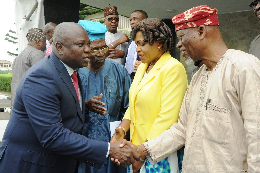 Lagos State Governor, Mr. Akinwunmi Ambode; with Representative of Victoria Island/Ikoyi Residents Associations (VIIRA), Dr. Ishola Salami; Sole Administrator, Oniru/Victoria Island LCDA, Princess Aderemi Adebowale and another representative of VIIRA, Alhaji Abdul-Lateef Muse during the inauguration of a Committee on Clean-up of Victoria Island/Ikoyi/Lekki Areas at the Lagos House, Ikeja, on Tuesday, August 30, 2016