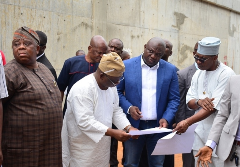 Lagos State Governor, Mr. Akinwunmi Ambode (2nd right); Permanent Secretary, Ministry of Works & Infrastructure, Engr. Ajibada Caster Bade-Adebowale (right); Commissioner for Works & Infrastructure, Engr. Ganiyu Johnson (2nd left); his counterpart for the Environment, Dr. Babatunde Adejare (left) during the Governor's inspection of the ongoing construction of multifaceted expansion projects at Berger Bus Stop, along Lagos-Ibadan Expressway, at the weekend.