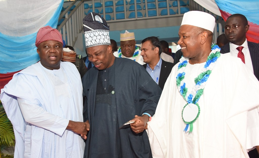 Lagos State Governor, Mr. Akinwunmi Ambode, his Ogun and Kebbi State counterparts, Governors Ibikunle Amosun and Atiku Bagudu during the 4th Progressive Governance Lecture Series with the topic - Building the Economy of States: Challenge of Developing Inclusively Sustainable Growth, at the Umaru Musa Yar'dua Indoor Sports Hall, Muritala Square, Kaduna, on Thursday, August 25, 2016.