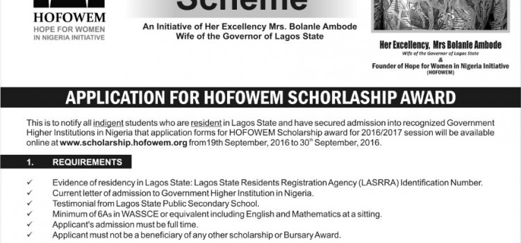 Application For HOFOWEM Scholarship