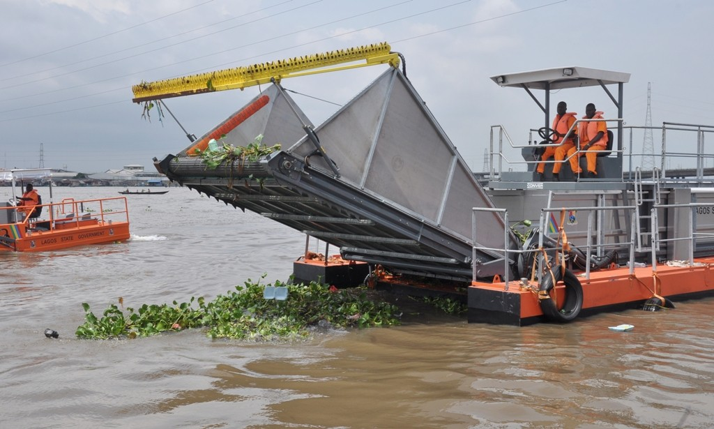 Newly commissioned Water Hyacinth Removal Machines at the Ebute Ero Jetty, Lagos Island by Governor Akinwunmi Ambode, on Thursday, October 13, 2016.
