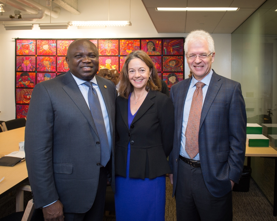 Lagos State Governor, Mr. Akinwunmi Ambode, with Faculty Director, Legatum Center & member of UK Prime Minister's Council for Science and Technology, Professor Fiona Murray and Associate Provost for International Activities, Professor Richard Lester during a meeting between the MIT Africa Initiative and Lagos State Government in Boston, Massachusetts, U.S.A, on Thursday, November 17, 2016.