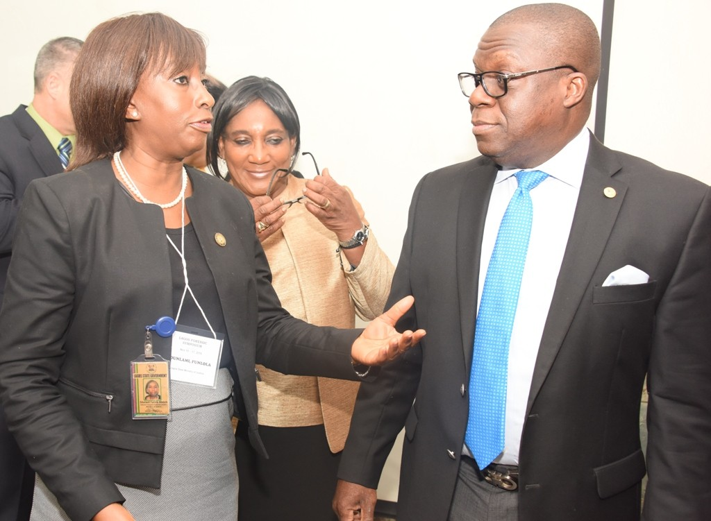 Attorney General & Commissioner for Justice, Mr. Adeniji Kazeem (right); Solicitor General/Permanent Secretary, Lagos State Ministry of Justice, Mrs. Funlola Adesola Odunlami (left) and Justice Modupe Nicol Clay (middle) during a 3-Day Lagos Forensic Symposium organised by the State Ministry of Justice and ITSI – Biosciences, USA, at De Renaissance Hotel, Ikeja, Lagos, on Tuesday, November 15, 2016.