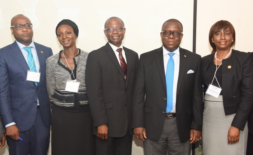 Assistant Director, Directorate of Public Prosecution, Lagos State Ministry of Justice, Mr. Jide Martins; Special Assistant to the Attorney General & Commissioner for Justice (Lagos), Iyabo Oshodi; President & Chief Scientific Officer, ITSI – Biosciences, USA, Dr. Richard Somiari; Attorney General & Commissioner for Justice, Mr. Adeniji Kazeem and Solicitor General/Permanent Secretary, Lagos State Ministry of Justice, Mrs. Funlola Adesola Odunlami during a 3-Day Lagos Forensic Symposium organised by the State Ministry of Justice and ITSI – Biosciences, USA, at De Renaissance Hotel, Ikeja, Lagos, on Tuesday, November 15, 2016.