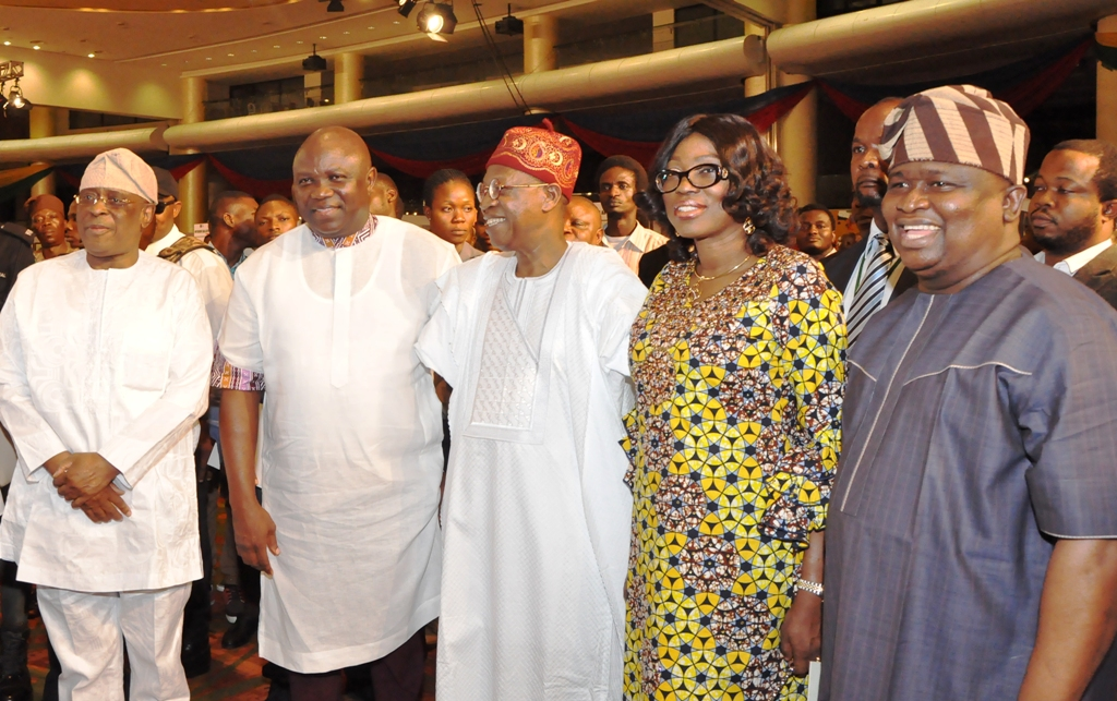 Lagos State Governor, Mr. Akinwunmi Ambode (2nd left); former Governor of Ogun State, Aremo Olusegun Osoba; Minister of Information & Culture, Alhaji Lai Mohammed; wife of Lagos State Governor, Bolanle and Senator Olamilekan Solomon Adeola during the Opening of the Rasheed Gbadamosi Art Exhibition as part of activities to celebrate Lagos@50 at the Eko Hotel & Suites, Victoria Island, Lagos, on Friday, January 27, 2017