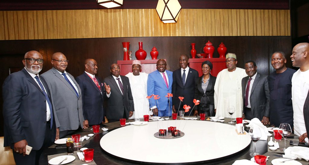 Lagos State Governor, Mr. Akinwunmi Ambode (6th left), with President, Nigerian Bar Association (NBA), Mr. Abubakar Balarabe Mahmoud, SAN (6th right); his wife, Justice Patricia Mahmoud (5th right); Governor Mohammed Abubakar of Bauchi State (4th right); Governor Simon Lalong of Plateau State (3rd right); President, Dangote Group, Alhaji Aliko Dangote (2nd right); Managing Director/C.E.O, Access Bank Plc, Mr. Herbert Wigwe (right); Governor Rotimi Akeredolu of Ondo State (left); Governor Nyesom Wike of Rivers State (3rd left); Governor Aminu Tambuwal of Sokoto State (4th left) and Governor Abdullahi Umar Ganduje of Kano State (5th left) during the opening ceremony of 2017 Annual General Conference of the Nigerian Bar Association at Landmark Centre, Oniru, Lagos, on Sunday, August 20, 2017.