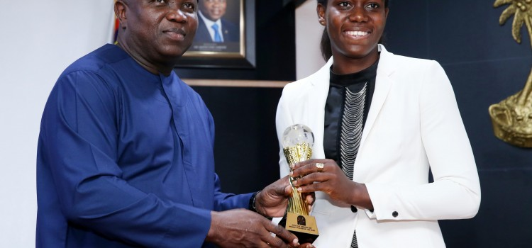 Pictures: 3rd Time African Female Footballer of the Year, Asisat Oshoala, Visits Lagos House, Ikeja