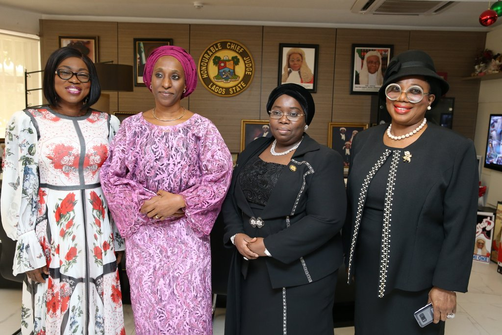 Representative of Lagos State Governor and Deputy Governor, Dr. (Mrs) Oluranti Adebule (2nd right); Chief Judge of Lagos State, Justice Opeyemi Oke (right); Wife of the Governor, Mrs. Bolanle Ambode (left) and wife of the Vice President, Mrs. Dolapo Osinbajo (2nd left) during the commissioning of Sexual Offences and Special Courts for Corruption and Economic Crime Cases at the Rosaline Omotosho Courthouse, Ikeja, on Thursday, February 1, 2018.
