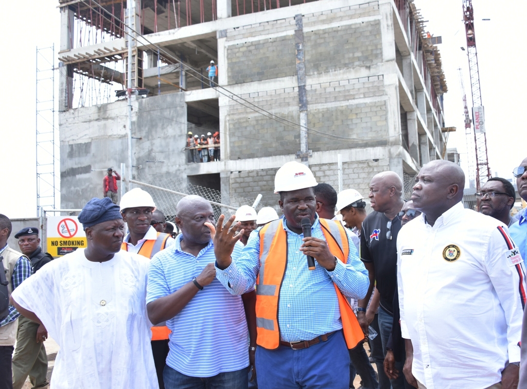 Lagos State Governor, Mr. Akinwunmi Ambode; Managing Director, Planet Project, Mr. Abiodun Otunola; Commissioner for Works & Infrastructure, Engr. Ade Akinsanya and his counterpart for Information & Strategy, Mr. Kehinde Bamigbetan during the Governor's inspection of the ongoing construction of the Oshodi Transport Interchange, on Thursday, April 12, 2018.
